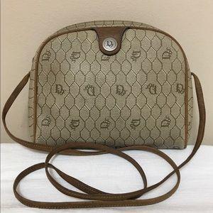 Vtg Christian Dior Beige/Tan Honeycomb Logo CB Bag